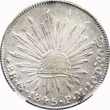 Mexico 8 Reales Go 1845 P.M. Guanajuato, NGC AU58.