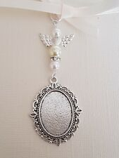 Wedding Bouquet Charm Oval Silver Locket Pendant Ivory and Pale Yellow pearls