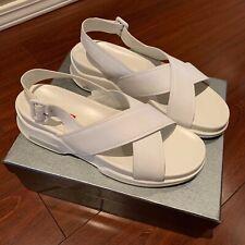 Prada Sport White Criss Cross Leather Sandal