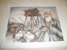 DOUG LINDSTRAND PRINT 1987 SIZE 12 X 16 SIGNED MAN WITH SLED DOGS UNFRAMED
