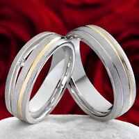 2 Eheringe Trauringe 925 Silber und 585 Gold mit echtem Brillanten Gravur SPB018