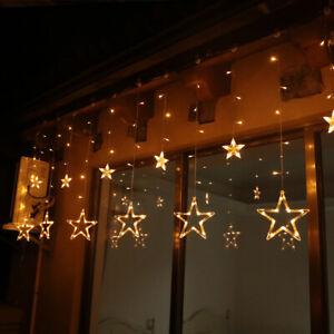 Led Lichterkette 12 Sterne Sternenvorhang Lichtervorhang Warmweiß Weihnachten