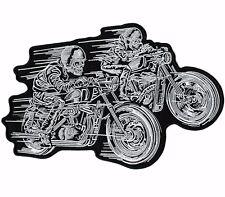 "Double SKELETON RIDERS Skull Motorcycle Jacket Biker Patch Large 10"""