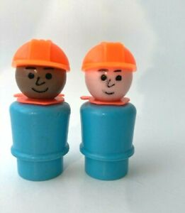 Vtg 2 Fisher-Price Little People African American Construction Worker & Whoops