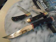 Ridge Runner Black Cinder 3 Knife Set Bowie Lockback Trapper Knives Delrin RR710