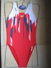 "SPEEDO SWIMWEAR FEMALE ENDURANCE RED LINED LEADERBACK WITH HIGH LEG.WOMEN UK 34"""