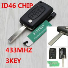 For PEUGEOT 207 307 CC 308 3 Button Remote Alarm Flip Key Fob 433MHz ID46 K14