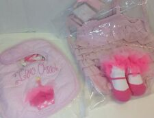 Mud Pie First Birthday BIB, DRESS & Chiffon BOOTIES 3 PC Set 9-12M Cotton NWT