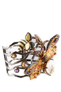 Butler & Wilson Womens Silver Tone Enamel Crystal Butterfly Bee Cuff Bracelet