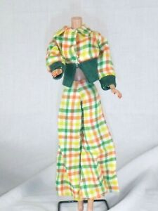 Vtg Barbie Clone MOD Green Orange Yellow Checked Pantsuit Outfit