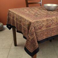 Handmade Elephant Block Print Batik Cotton Tablecloth Rectangle 60x90 inch Red