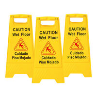 3x Wet Floor Warning Sign Safety Caution Board  Bilingual Floor Stand Signs 24in