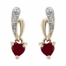 Butterfly Fastening Drop/Dangle Ruby Yellow Gold Fine Earrings