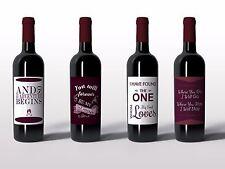 Wine Bottle Labels for Wedding, Bridal Shower, Engagement Couple Gift - Set of 4