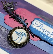 Handmade By Kathie Gift Card - A Great Big Thanks To You - Peacock Lace Feather