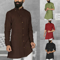 INCERUN Mens Middle East Kaftan Saudi Arab Islamic Clothing Thobe Robe Shirt Top