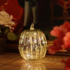 "8.75"" Glass LED Silver Pumpkin Halloween Thanksgiving Holiday Decor w/ Timer"