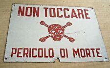 PERICOLO DI MORTE TESCHIO TARGA CARTELLO INSEGNA VINTAGE PLACCHETTA LAMIERA