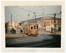 Ebbets Field Brooklyn New York Vintage Color Trolley Photo 1940s NYC