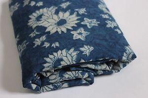 1 Yard Natural Indigo Blue Dye Shibori Printed Cotton Dabu Print Dress Fabric