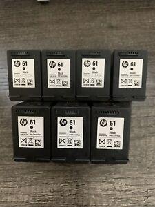 Lot of 7 Genuine Original HP 61 OEM BLACK Empty Ink Cartridges HP61