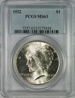 1922 $1 Peace Silver Dollar PCGS MS63