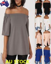 Women Off Shoulder Short Sleeve Ruffled Shirt Tops Summer Casual Loose Blouse