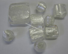 9 Piece White Glass Foil Round & Square Beads, Beading & Jewellery Making TAR261