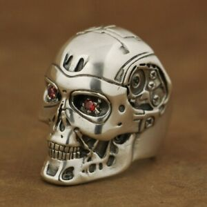 Handmade 925 Sterling Silver Red CZ Eyes Terminator Mens Robot Ring TA80A US 12