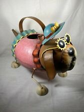 Whimsical Dog Wearing Bone Woof Necklace Sun Hat Sunglasses Metal Watering Can