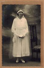 Carte Photo vintage card RPPC fille communiante religion kh0171