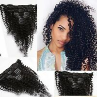 """New 18"""" 7 pcs set Black Kinkly Curly Clip in Human Hair Extensions 70g for Girl"""