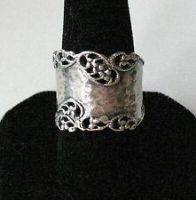 Vtg. Style Paz Sterling Silver Wide Hammered & Pierced Band Ring -- Sz. 9.5