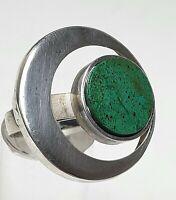 925 Silber Ring großer Ringkopf Hersteller Punze Chrysokoll besetzt RG 54/17,2mm