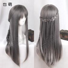Lolita Harajuku Sweet Gray Gradient Wig Princess Long Straight Hair Cosplay #T37