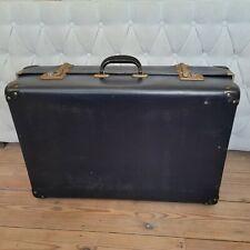 Vintage Large Navy Blue Suitcase Traveling Retro