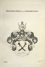 1847 coat of arms Württemberg Kröll di scuofa pietra RAME STEMMA chiave