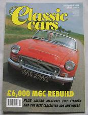 Classic Cars magazine 10/1989 featuring MGC, Maserati 450S, Citroen SM, Fiat