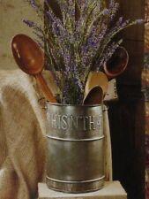 Primitive Country Farmhouse Utensil BUCKET HOLDER Metal Tin Caddy Crock