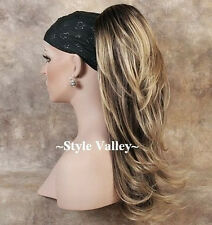 Brown Blonde Ponytail clip on in Hair Piece Long Extension straight w/ wavy ends