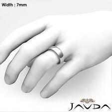 14k Gold White 7mm Men's Plain Comfort Dome Wedding Band Solid Ring 10.3g 9-9.75