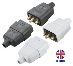 3 Pin Mains Connector 10A Black or White Knightsbridge  SN2121