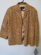 New Terry Lewis Classic Luxuries Leather Snake Skin Carmel Jacket P3X Petite 3X