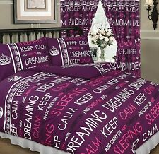 DOUBLE BED PURPLE PLUM BERRY KEEP CALM & CARRY ON DREAMING DUVET COVER BED SET