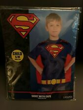 New Child Superman T-Shirt with Cape Size S/M