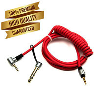 3.5 to 3.5 & 6.5 MM AUX Red Cable Cord for Beats by Dr Dre Pro Detox Headphones