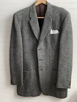 Alexandre Of London Harris Tweed Wool Gray Herringbone Blazer Sport Coat 40-42R