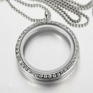 Crystal Glass Floating Charms Locket Living Memory Pendant Necklace Chain Gifts