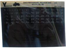 Yamaha YFM400 2000 Big Bear 2WD YFM400NM NMC Parts List Manual Microfiche s30