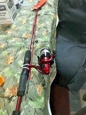 "Zebco Red 5'6"" Medium Spinning Rod n Reel W/ Line Model Gweb New"